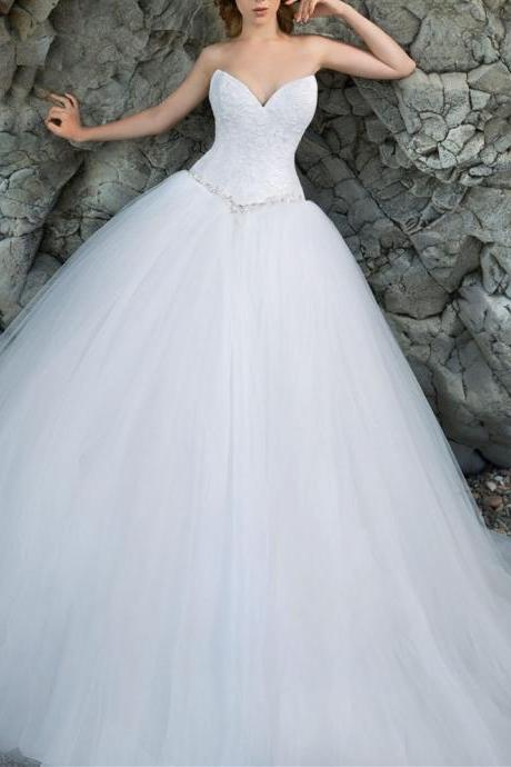 Lace Sweetheart Floor Length Tulle Ball Gown Featuring Lace-Up Back