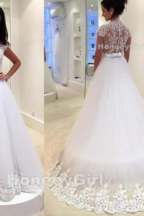 Wedding Dresses,Appliques Wedding Dresses,Lace Wedding Dresses,Floor Length Wedding Dresses,Cap Sleeve Wedding Dresses,A-line Wedding Dresses,Organza Wedding Dresses,Handmade Wedding Dresses,Custom Wedding Dresses,Newest Wedding Dresses