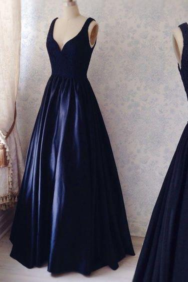 Navy Simple Prom Dresses, Satin Prom Dress, Sexy V neck Prom Gown, Elegant Formal Dresses, Woman Evening Dress, Prom Party Dresses