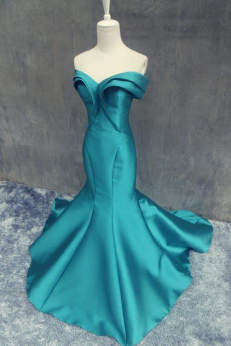 Rea Made Prom Dresses, Hunter Prom Dresses, Sexy Mermaid Prom Dresses, Off Shoulder Prom Dresses, Empire Backless Prom/Evening Dress With Ruffles