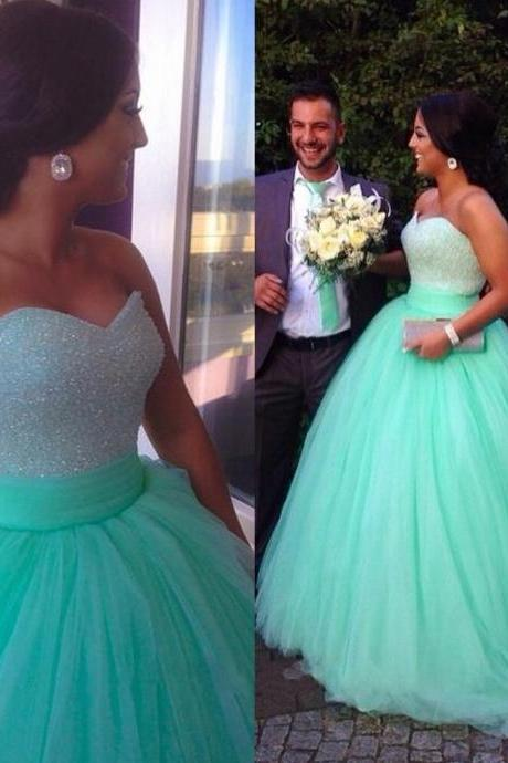 Custom Made Sequins Beaded Sweetheart Bodice Corset Mint Prom Dresses 2015 Ball Gowns Puffy Sparkly Pageant Dress,Quinceanera Dresses Ball Gowns Girl Sweet 16 Dresses