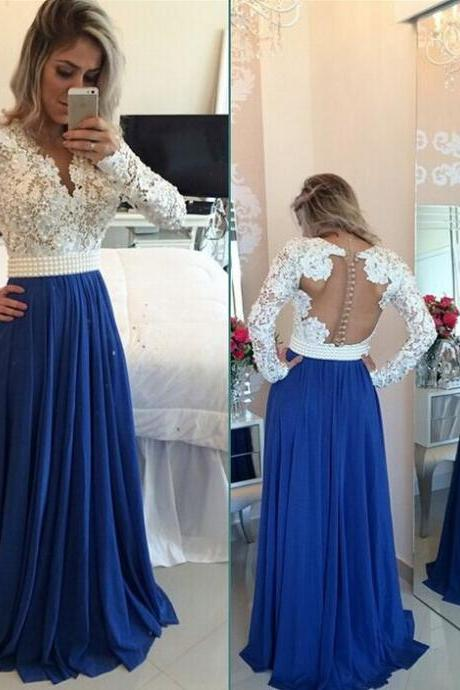 Charming Long Sleeves Prom Dress, Lace Prom Dress, Pearls Beading Prom Dress, Chiffon Prom Dresses, V Neck Prom Dress, White&Blue Evening Gowns