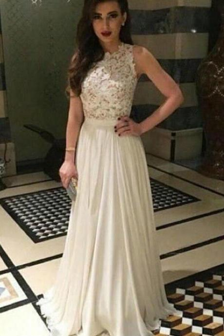 Elegant Ivory Lace Handmade A-line Long Prom Dress, Cute Ivory Lace Chiffon Modest Prom Dress, Long Evening Dress for Prom 2016