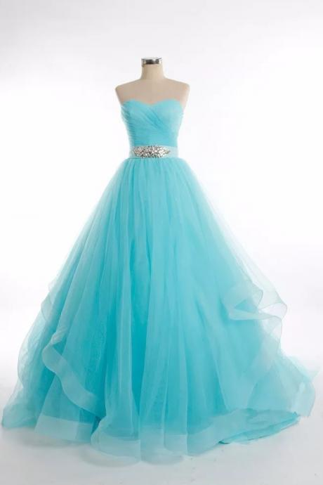 Charming Strapless Prom Dress, Tulle Prom Dresses, Long Evening Dress