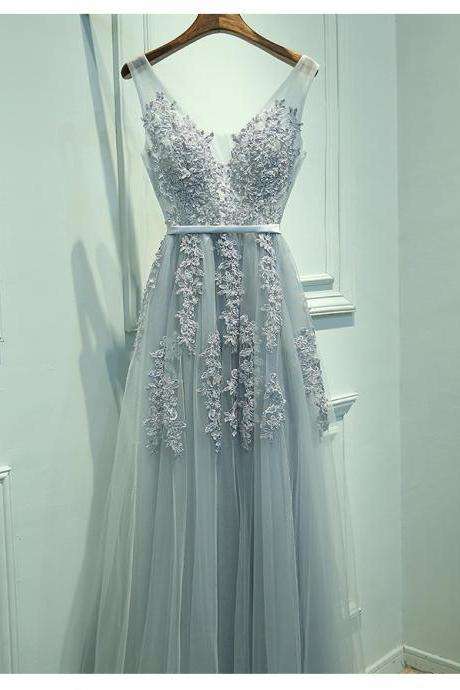 Real Image Prom Dress, Blush Gray Prom Dress, Tulle Prom Dress, Lace Prom Dress, Long Prom Dresses, Sexy V Neck Prom Dress, Elegant Evening Dress, Woman Dresses
