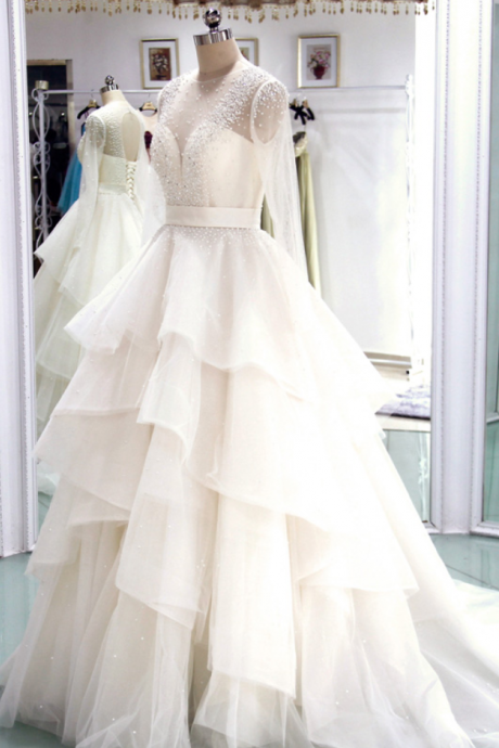 Sheer Long-Sleeved Beaded A-line Wedding Dress with Tiered Ruffle Skirt and Lace-Up Back