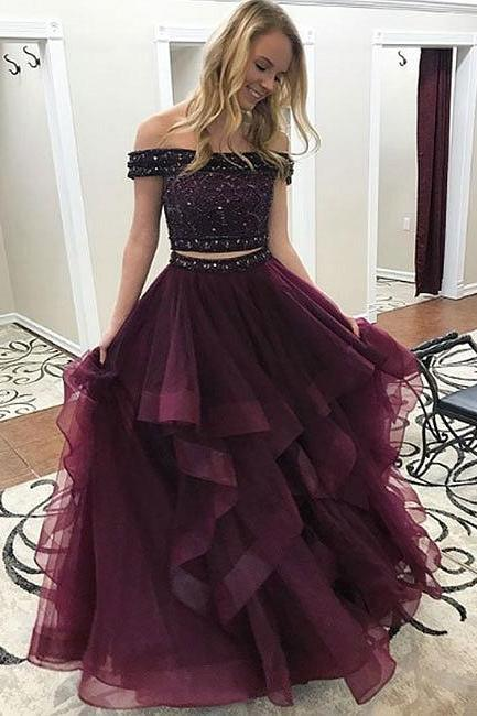 Tulle Long Prom Dress, Two Pieces Evening Dress, Senior Prom Dresses, Ball Gowns, Two Pieces Prom Dresses